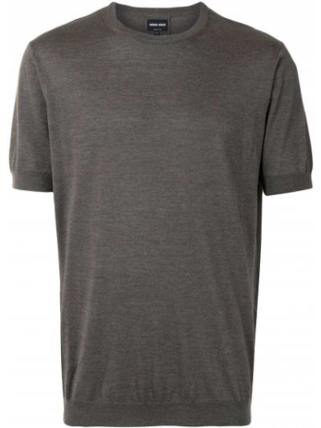 Серая прямая с рукавами футболка Giorgio Armani
