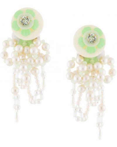 Белые серьги-гвоздики с жемчугом Biyan