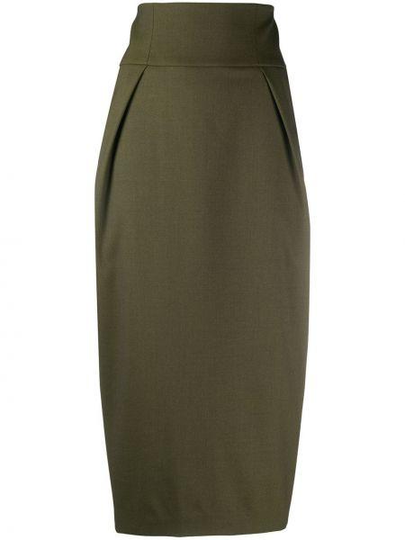 Шерстяная с завышенной талией юбка миди на молнии с разрезом Alexandre Vauthier