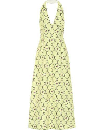 Шерстяное желтое платье на бретелях с воротом халтер Emilia Wickstead