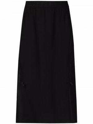 Шелковая юбка миди - черная Mcq