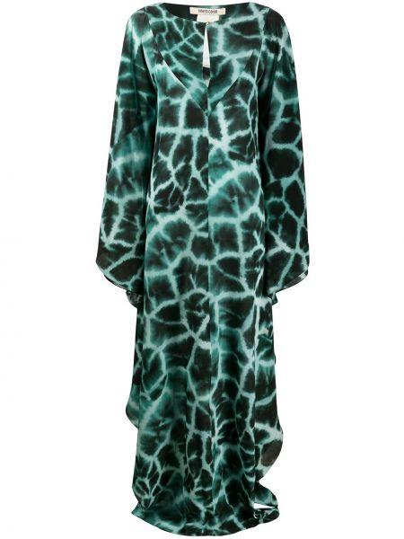 Приталенное шелковое платье на пуговицах с драпировкой Roberto Cavalli