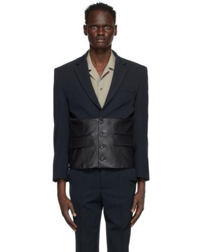 Кожаный черный удлиненный пиджак с подкладкой Situationist
