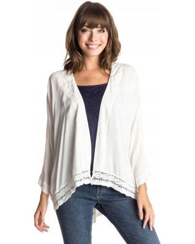 Biały t-shirt z długimi rękawami z wiskozy Roxy