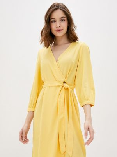 Однобортное желтое платье Vero Moda