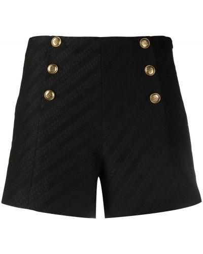 Хлопковые черные с завышенной талией шорты Givenchy