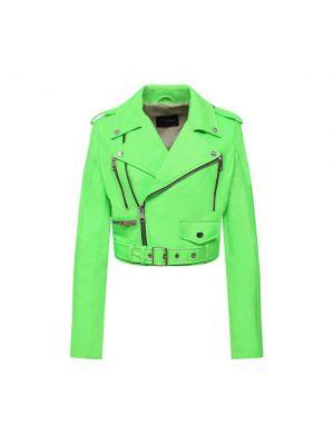 Зеленая кожаная куртка из полиэстера Manokhi