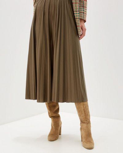Плиссированная юбка хаки зеленый Only