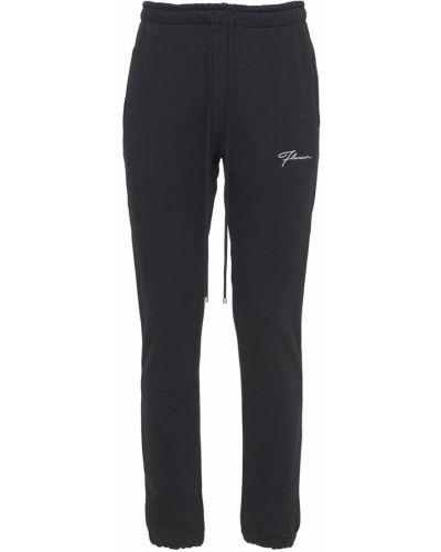 Czarne joggery z haftem bawełniane Flaneur Homme