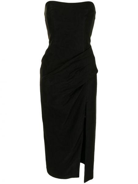 Платье миди с открытыми плечами - черное Manning Cartell