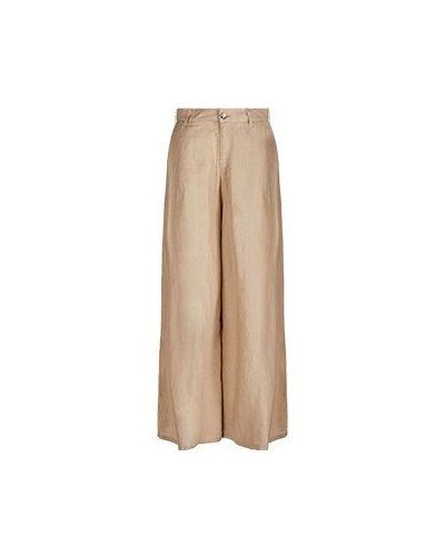 Бежевые широкие джинсы свободного кроя Emporio Armani