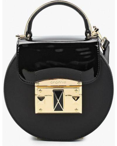 Кожаная лаковая черная сумка через плечо Cromia