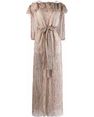 Платье с поясом - бежевое Blumarine