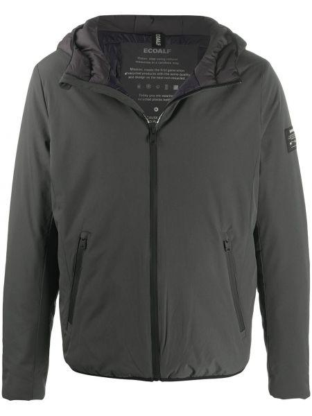 Классическая черная куртка с капюшоном на молнии с нашивками Ecoalf