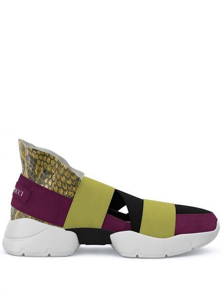 Wysoki sneakersy skórzane żółty Emilio Pucci