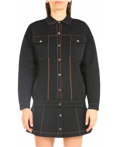 Czarna kurtka w paski z długimi rękawami Pinko