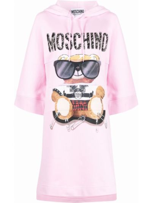 Розовое платье с капюшоном Moschino