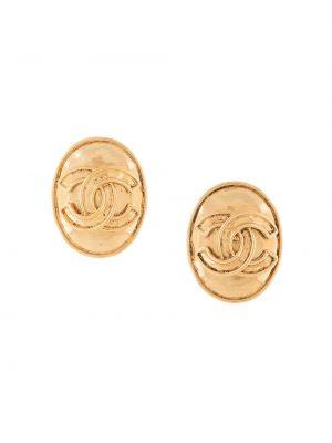 Золотистые серьги золотые позолоченные Chanel Pre-owned