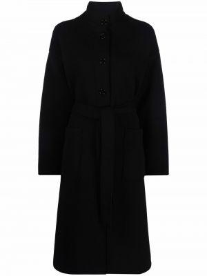 Czarny płaszcz wełniany Barena