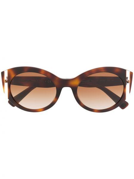 Прямые муслиновые солнцезащитные очки круглые хаки Valentino Eyewear
