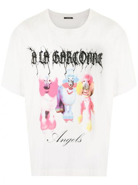 Белая хлопковая футболка оверсайз с круглым вырезом à La Garçonne