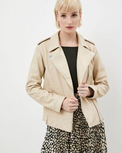 Бежевая кожаная куртка Ostin