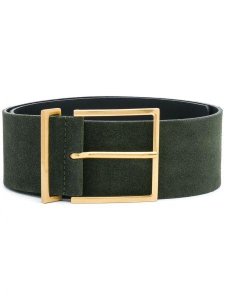 Золотистый зеленый кожаный ремень с пряжкой Sandro Paris