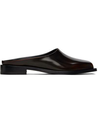 Черные кожаные лоферы на каблуке Peter Do
