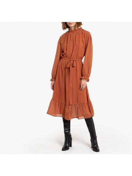 Платье миди на пуговицах с прозрачными рукавами La Redoute