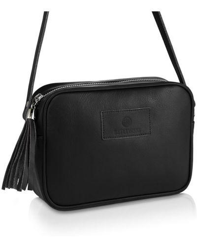 Czarna torebka skórzana z frędzlami Betlewski