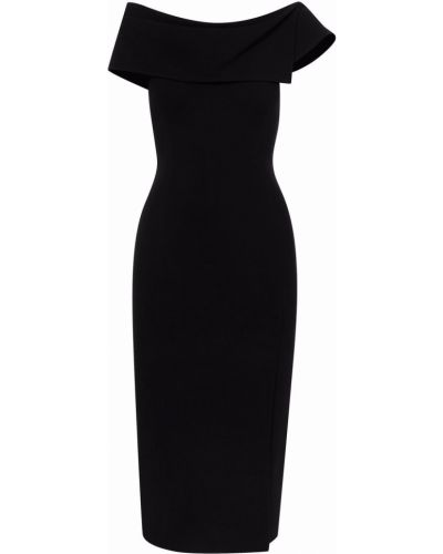 Шерстяное платье миди - черное Oscar De La Renta