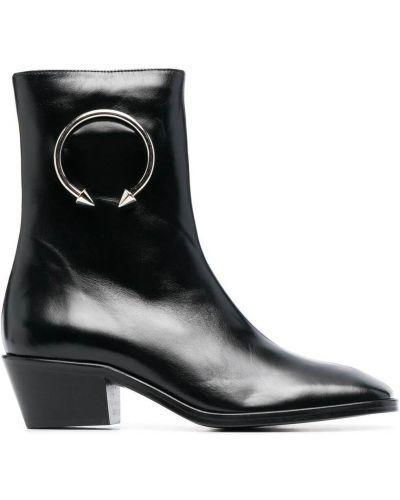Czarne ankle boots skorzane na obcasie Dorateymur