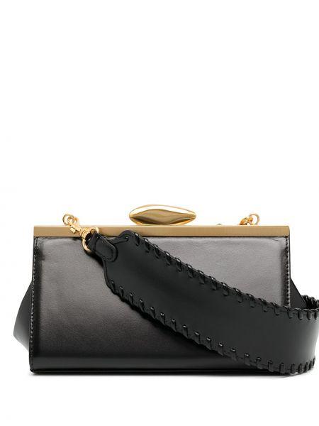 С ремешком кожаная черная сумка на плечо прямоугольная Reike Nen