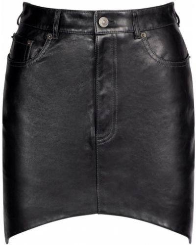 Кожаная юбка мини - черная Balenciaga