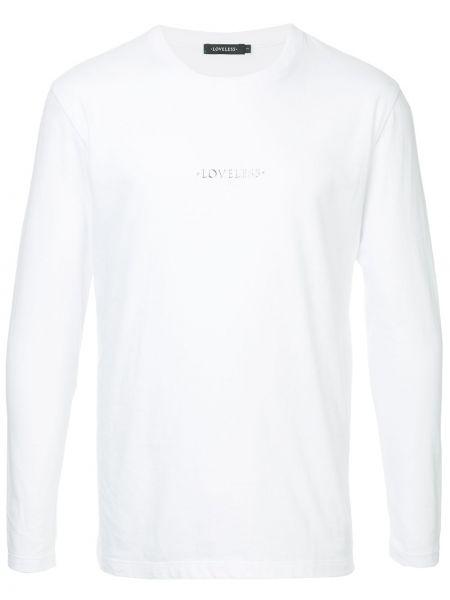 Белая хлопковая футболка с круглым вырезом с длинными рукавами Loveless