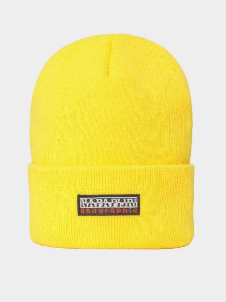 Акриловая желтая шапка с отворотом Napapijri
