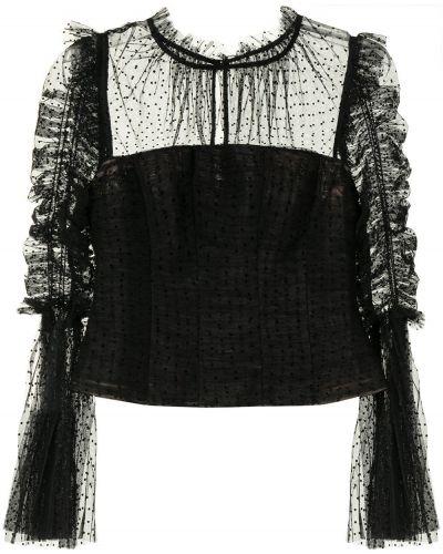 Блузка в горошек - черная Self-portrait