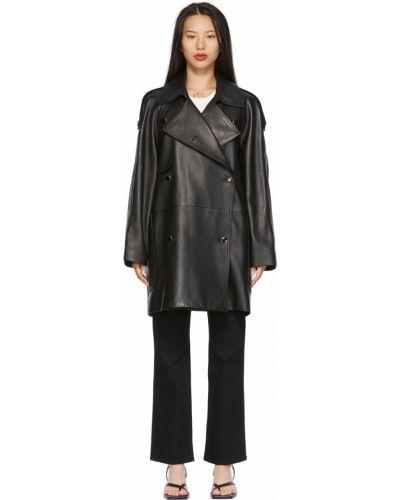 Черное кожаное пальто Khaite