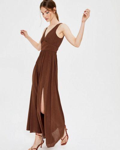 Коричневое прямое платье Lime