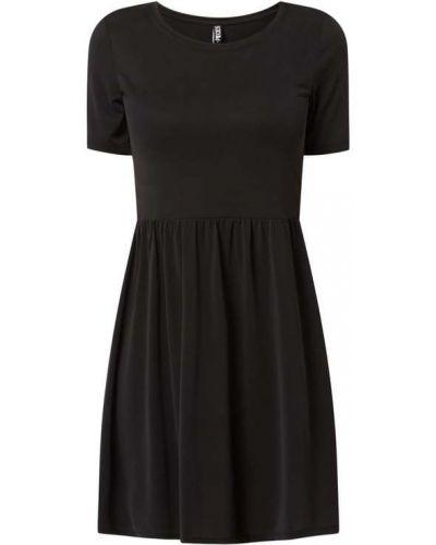 Czarna sukienka mini rozkloszowana krótki rękaw Pieces