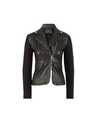 Повседневная черная кожаная куртка Pinko