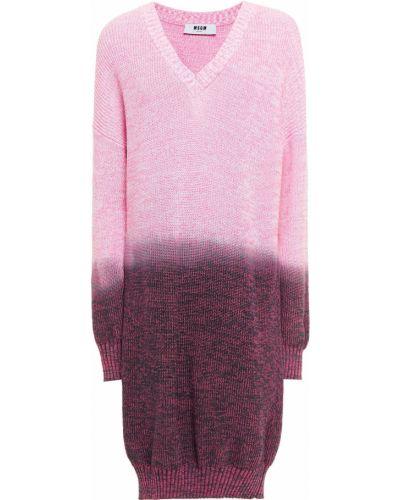 Хлопковый розовый вязаный свитер Msgm