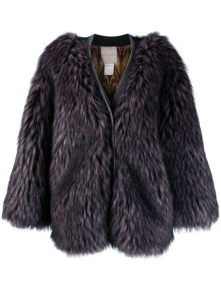 Прямое розовое длинное пальто из искусственного меха Marco De Vincenzo
