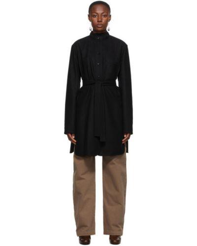 Czarny długa kurtka z mankietami z kieszeniami z długimi rękawami Lemaire