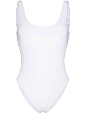 Biały strój kąpielowy z haftem Fendi