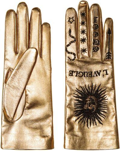 Кожаные перчатки золотые с вышивкой Gucci