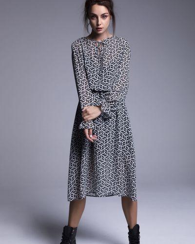 Платье миди с длинными рукавами - черное Naoko