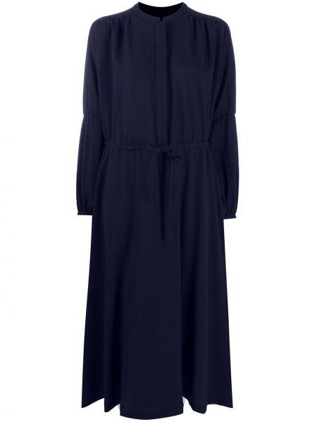 Шерстяное прямое платье миди с бантом с вырезом Odeeh