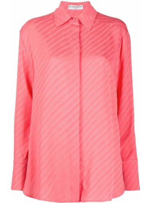Różowa klasyczna koszula w paski z długimi rękawami Givenchy