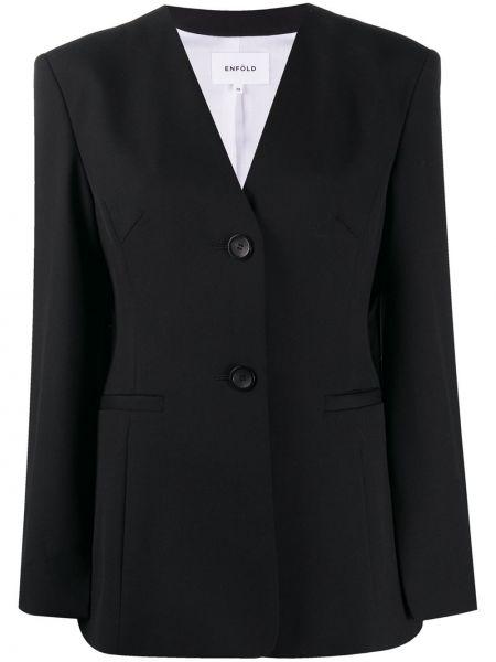 Wełniany czarny długa kurtka z kieszeniami z długimi rękawami Enfold